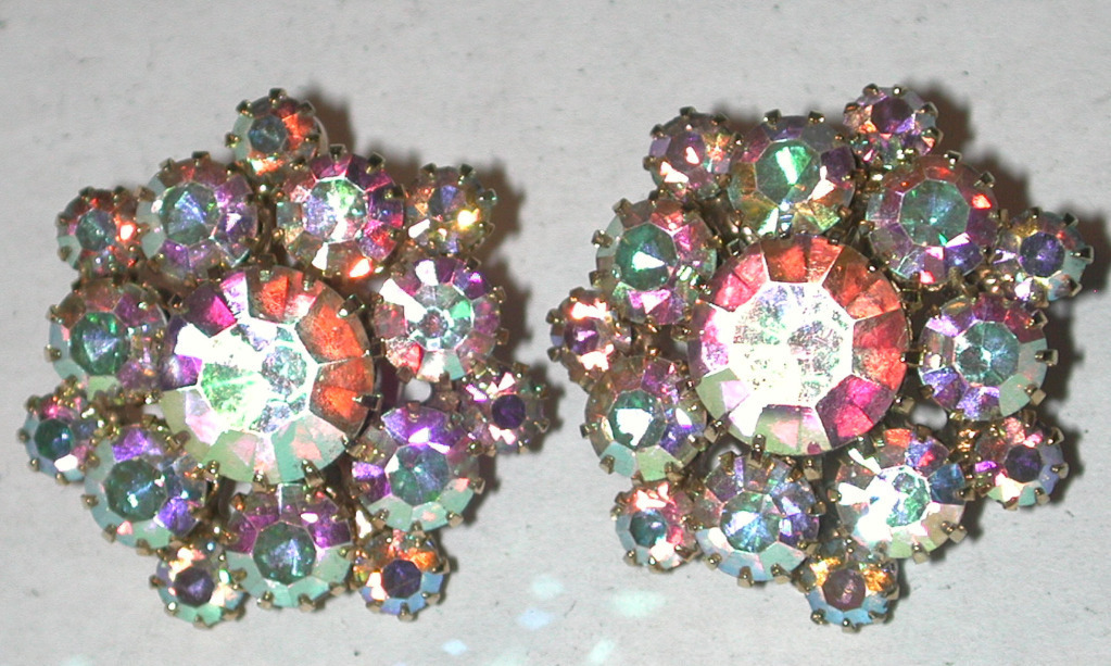 Primary image for Aurora Rhinestone Clip-on Earrings Vintage