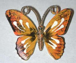 Enamel Metal Butterfly pin vintage 60s brooch Orange - $14.00