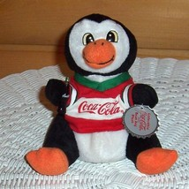 "Coca Cola Coke 6"" Plush Penguin in Red & Green Hockey Shirt with Soda Bo... - $5.29"