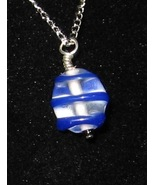 Blue Swirl Tri-Cube Pendant - Unique Glass Jewe... - $3.75