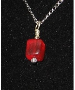Red Cube Pendant - Unique Square Glass Jewelry ... - $3.50
