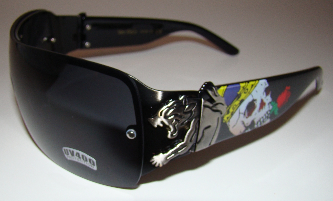Black Tattoo Designer Wrap Sunglasses Panther Skull Von Dolce Brand Men Womens