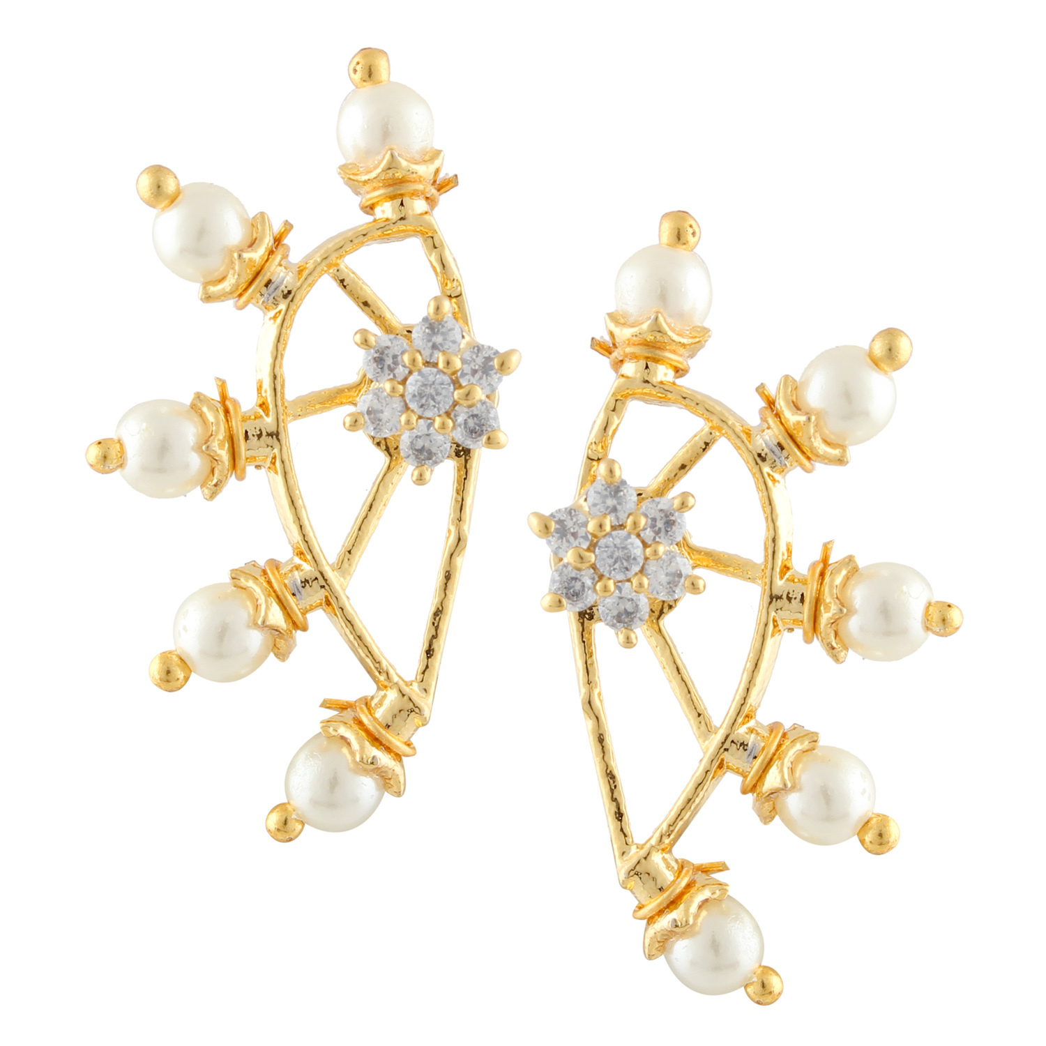 Efulgenz Combo of 6 Pair of Cubic Zirconia Cubic Zirconia Stone Earring for wome