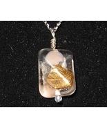 Pink Gold Foil Bent Pendant - Unique Glass Jewelry - $3.50