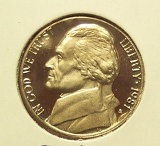 1981-S Cameo Proof Jefferson Nickel TYP2 #0784 - $4.29