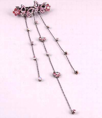 "Austrian Crystal Hair Barrette ""Avery"" Pink free organza bag"
