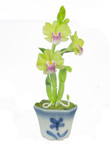 DOLLHOUSE MINIATURES GREEN/PINK/YELLOW DENDROBIUM #G7882 - $6.50