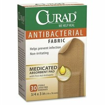 """An item in the Health & Beauty category: Antibacterial Bandages,Curad,Flex Fabric,3/4""""x3"""",30/BX,Tan, Sold as 1 Box"""
