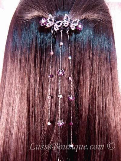 "Austrian Crystal Hair Barrette ""Avery"" Purple free organza bag"