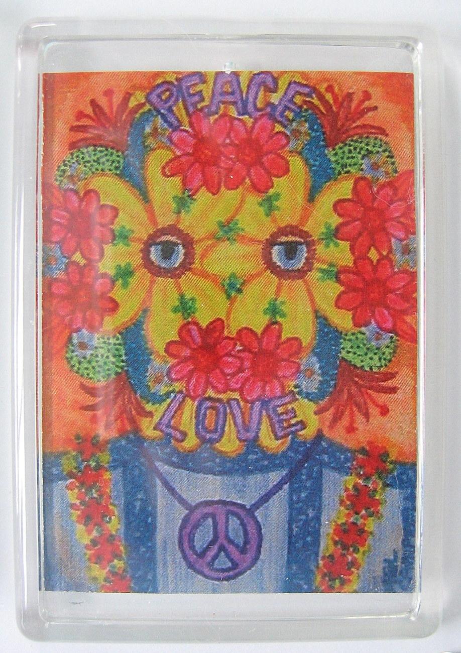 Flower child wedding mask magnet