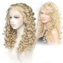 Cbwigs Realistic Looking Long Curly Blonde Highlights Brown Synthetic Lace Front image 1