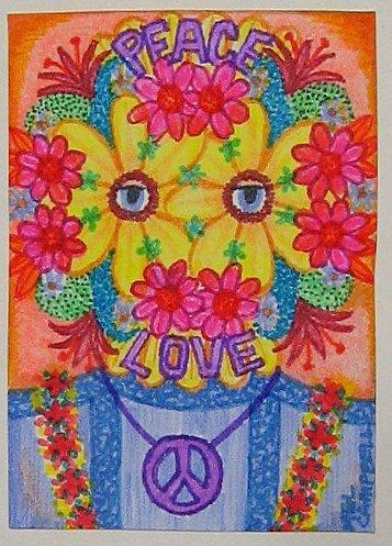 Flower Child Wedding Mask Print Refrigerator Magnet 2.5 x 3.5 Direct from Artist