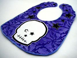 An item in the Baby category: Reversible Baby Bib Light Blue with Dark Blue Gothic Lace White Punk Skull Stars