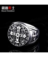 Steel soldier cross design latina amulet letter stainless steel men ring... - $13.35