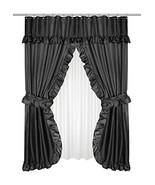 Carnation Home Fashions FSCD-L/16 Lauren Double Swag Shower Curtain, Black - $20.05