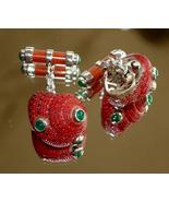 STERLING STRAWBERRY GENUINE EMERALD CUFFLINKS sld - $300.00