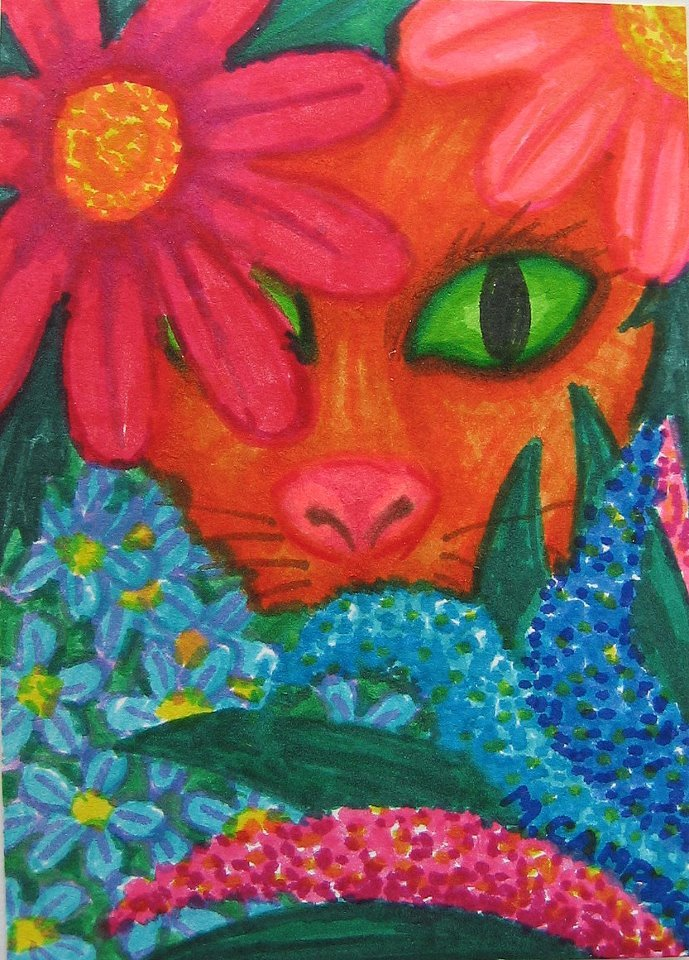 Cat Hiding In Flowers Print Refrigerator Magnet 2.5 x 3.5 Direct from Artist