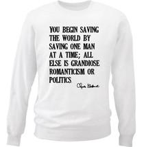 Charles Bukowski Saving The World Quote - New White Cotton Sweatshirt - $34.38
