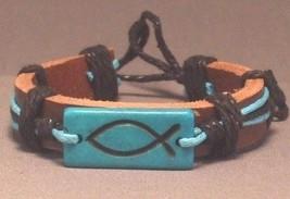 Christian Handmade Leather Bracelet ICHTHUS FIS... - $5.99