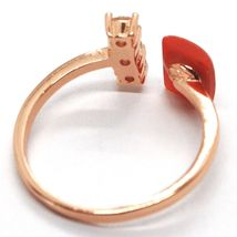 ANNEAU EN ARGENT 925, ROSE, TRILOGY, CORAIL ROUGE CABOCHON, MADE IN ITALY image 3