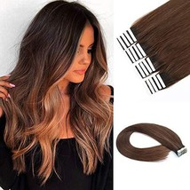 Lovrio 9A Grade 20 inch Tape in Hair Extensions, Dark Brown with Chocolate Brown