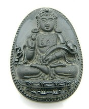 Asian Black Glass Tibetan Buddha Amulet Medallion Necklace Pendant Vintage - $24.74