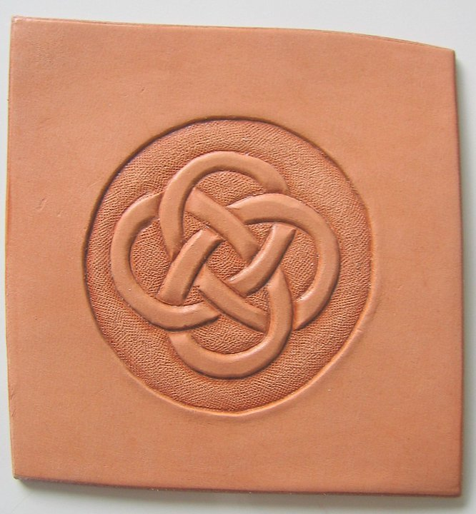 Celtic Knot Hand Tooled Leather Print Refrigerator Magnet 2.5 x 3.5 from Artist