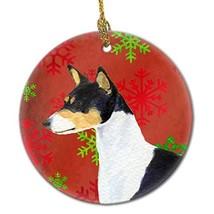 Caroline's Treasures SS4721-CO1 Basenji Red Snowflakes Holiday Christmas... - $22.19