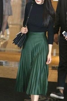 New black faux leather high waist pleated midi length skirt casual spring summer