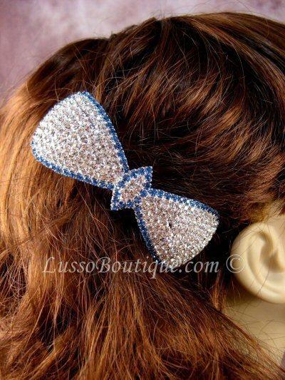 "Austrian Crystal Hair Barrette ""Cacey"" Blue Clear free organza bag"