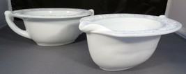 Anchor Hocking Cream & Sugar - Milk Glass Oval Daisy Patterned Edge Vintage - $4.95