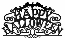 Happy Halloween Black Lettering Plasma Cut Metal Sign - $39.95