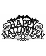 Happy Halloween Black Lettering Plasma Cut Metal Sign - £30.83 GBP