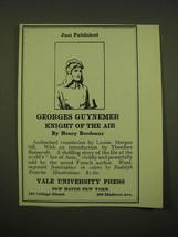 1918 Yale University Press Ad - Just Published Georges Guynemer - $14.99
