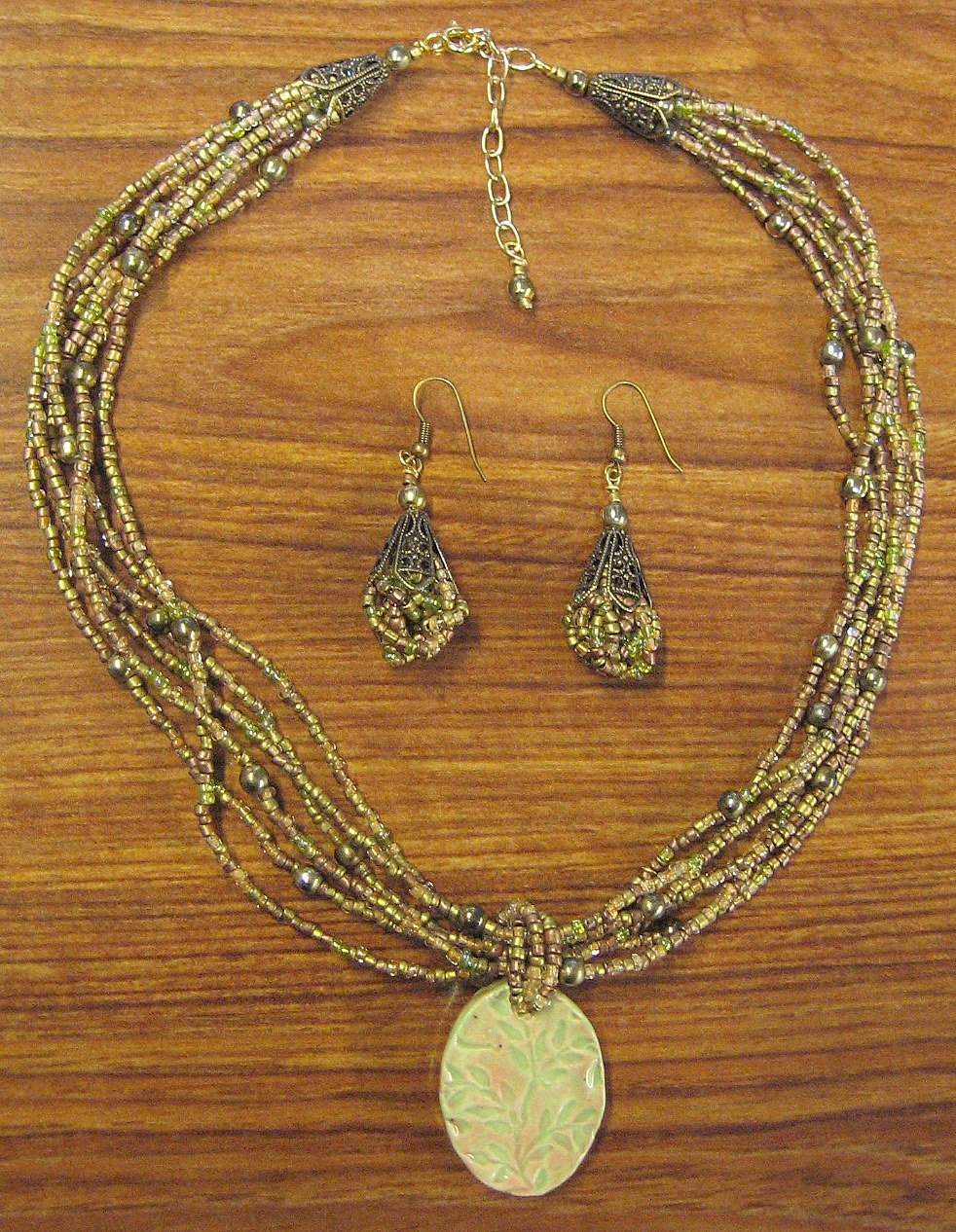 Glass Beaded Jewelry Set OOAK Ceramic Green & Pink Clay Pendant from Designers