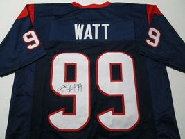 J.J. WATT / HOUSTON TEXANS / AUTOGRAPHED HOUSTON TEXANS BLUE CUSTOM JERSEY / COA