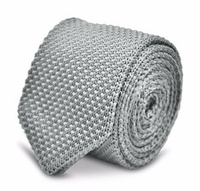 Frederick Thomas Knitted Silk Mens Tie - Light Silver Grey - Plain Point... - $15.81