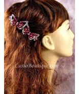 "Austrian Crystal Hair Barrette ""Ellen"" Pink Free Organza Bag - $11.75"