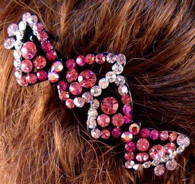 "Austrian Crystal Hair Barrette ""Ellen"" Pink Free Organza Bag"