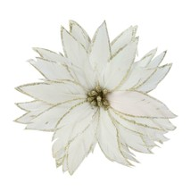 "Roman 7.5"" White Christmas Poinsettia Feather Clip Christmas Tree Ornament - $14.59"