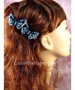"Austrian Crystal Hair Barrette ""Ellen"" Teal Blue Free Organza Bag - $11.75"