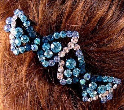 "Austrian Crystal Hair Barrette ""Ellen"" Teal Blue Free Organza Bag"