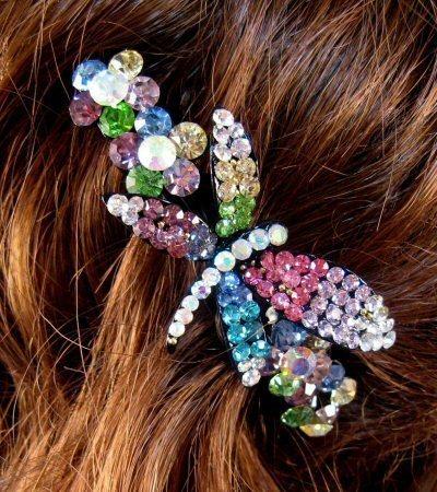 "Austrian Crystal Hair Barrette ""Kate"" Multi Color Free Organza Bag"