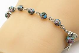 925 Silver - Vintage Enamel Beaded Religious Cross Rosary Bracelet - B4717 - $35.56