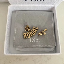 AUTHENTIC Christian Dior J'ADIOR Bee Wasp Gold Asymmetrical EARRINGS RECEIPT image 4
