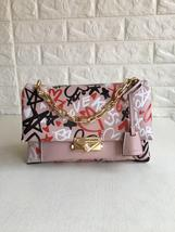 Michael Kors Cece Chain Graffiti Print Leather Medium Shoulder Bag Pink Multi - $325.00