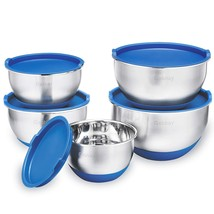 5 Piece Stainless Steel Mixing Bowls Set With Lids, Non-Slip Silicone Bo... - $593,38 MXN