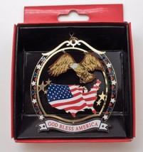 God Bless America Patriotic Brass Ornament Eagle Flag USA Shape - $14.95