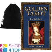 GOLDEN TAROT DECK CARDS ESOTERIC TELLING KAT BLACK ILLUSTRATED BOOK VELV... - $36.22