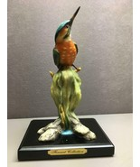 Beautiful Colorful Orange Breasted Green Blue Bird on Plant with Stand - $14.34